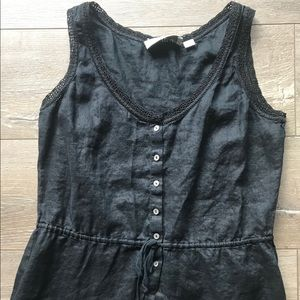 Women's vintage black linen lace button down tank